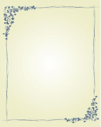 Decorative border with flowers and leaves