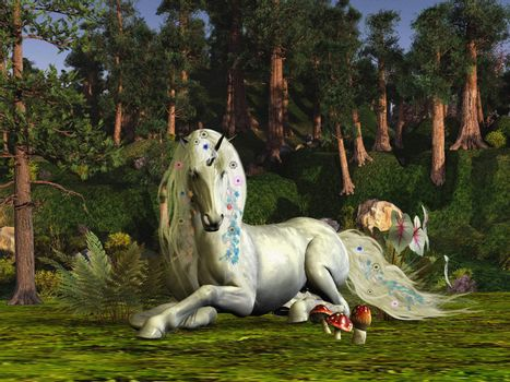 A unicorn stag lays down to rest among the magic trees of the forest.