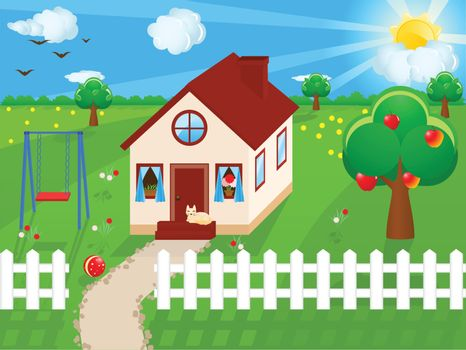 Vector illustration of a country house