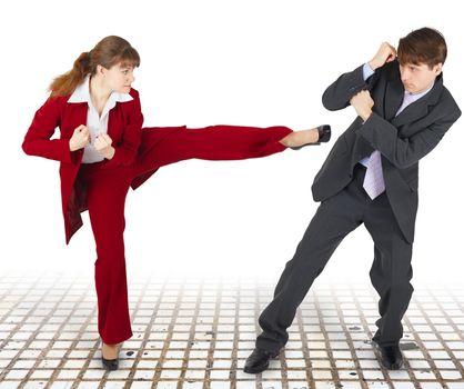 Extreme office quarrel men and women