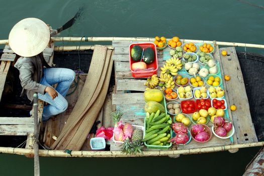 fruits on boat