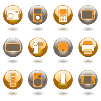 Collection of twelve technology inspired buttons with shadow