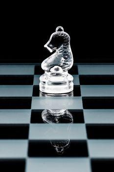 Glass chess knight