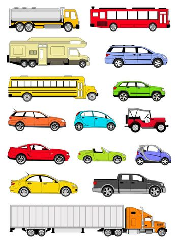 An illustration of transportation icons in different colors