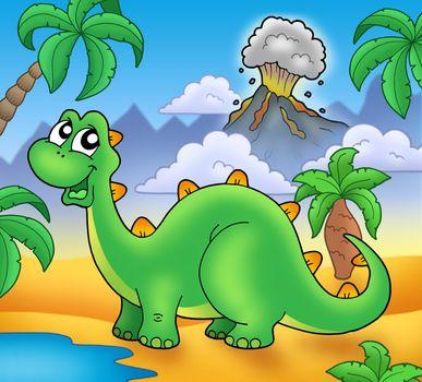 Cute green dinosaur with volcano