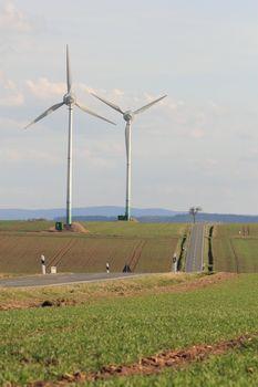 wind turbines near a road