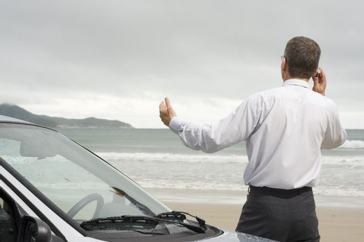 Businessman talking on cell phone beside his car