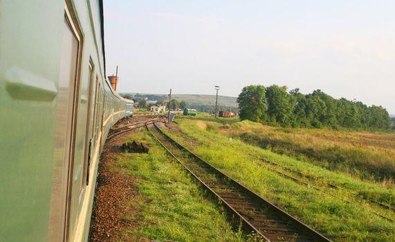 Eastern european train in countryside