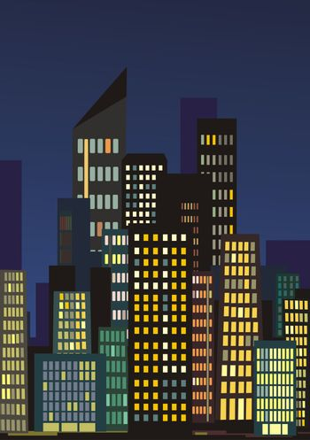 illustration of city skyline at night with lights