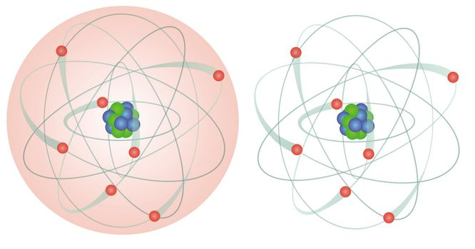 Model of an atom with electrons, neutrons and protons, illustration