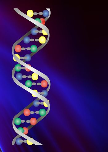 Conceptual illustration of two strangs of DNA double helix