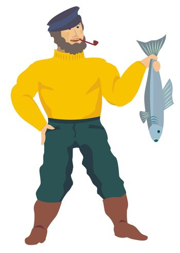 Fisherman presenting a good-sized fish of his last catch, illustration