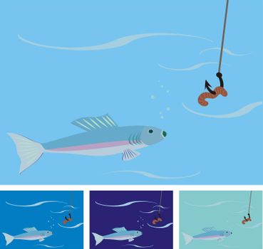 fishing illustration: fish is about to eat the worm on the hook