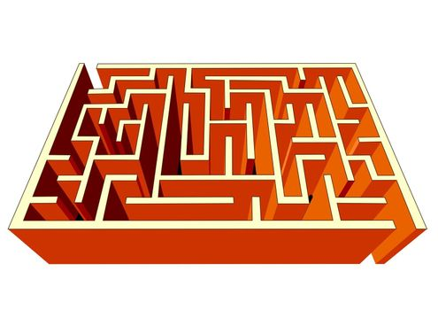 Maze or labyrinth, easy to solve, symbol for challenge, thinking or navigation, illustration