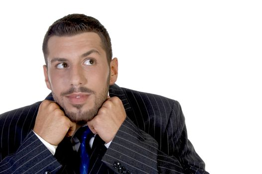 businessman putting his chin in hands