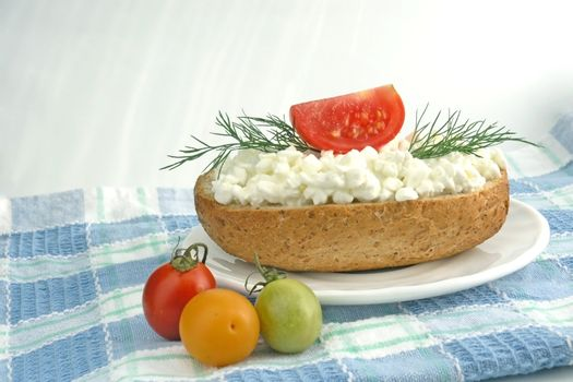 sandwich with white cheese on plate