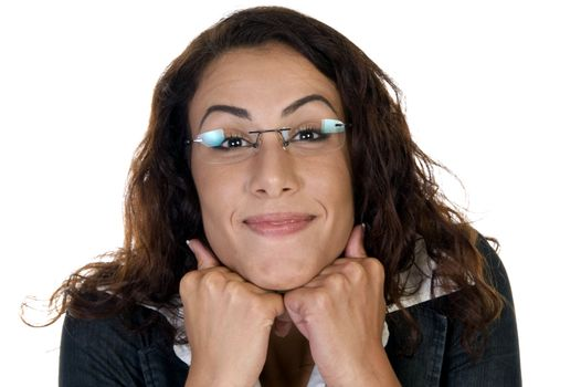 glad woman with chin over hands