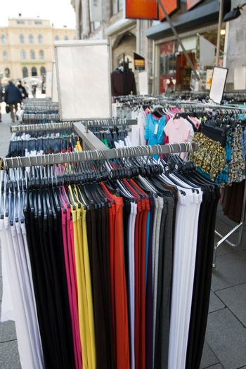 Clothes stand in a street shop