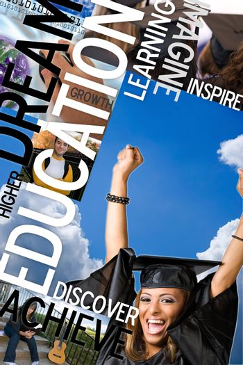 An education montage or layout with photos and text of students and graduates.  Plenty of copyspace for your text or logo.