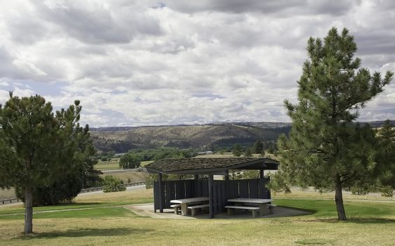 A beautiful picnic spot overlooks a valley along the Interstate in Wyoming.