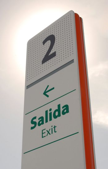 Exit signpost perspective