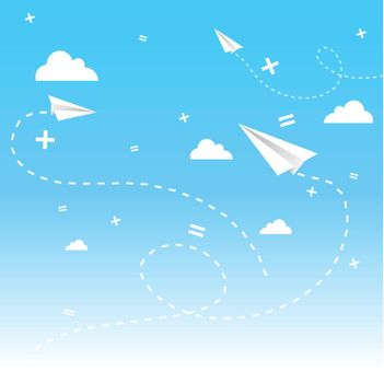 cloudscape with paperplanes.