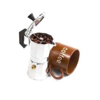 mocha coffee machine and cup