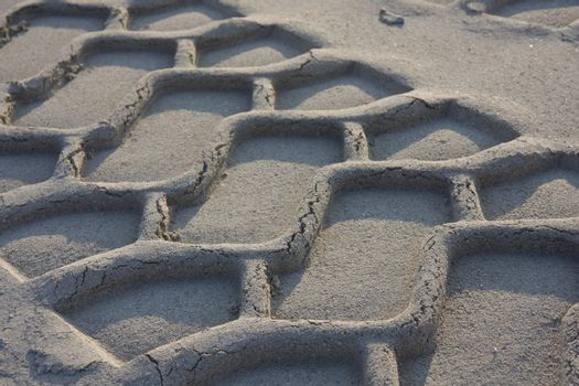 truck tracks in the fine sand