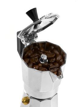 coffee beans and mocha machine