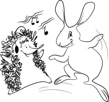 Dancing Friends - Hedgehog and Rabbit