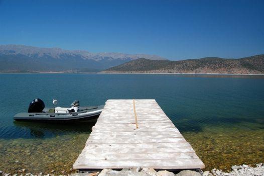 Small boat  in Prespa Lake, Macedonia