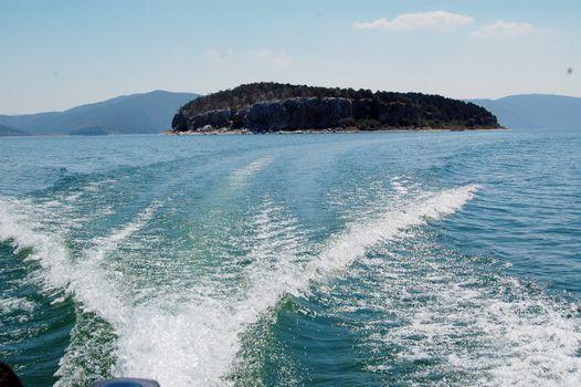 island golem grad on lake prespa in macedonia