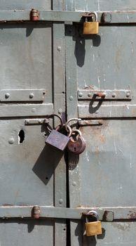 three lock opn metal door