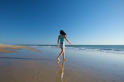 walking at the seaside