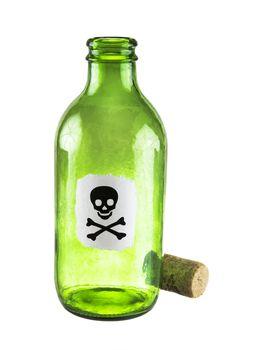 Poison bottle on a white