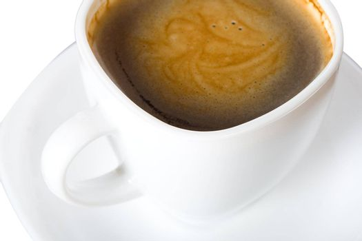 close-up cup of coffee with foam, view from above, isolated on white