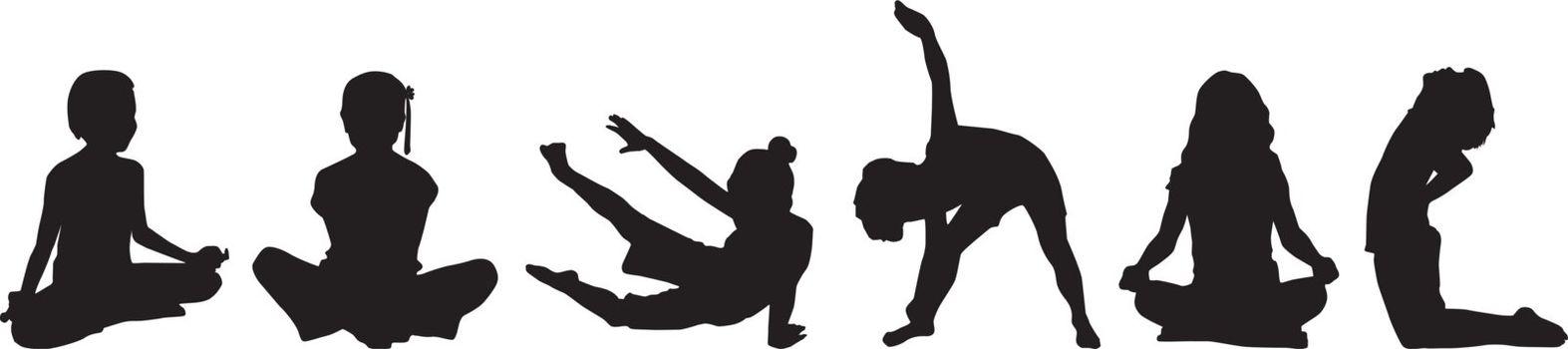 Silhouette child's yoga