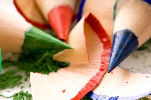 Sharpened pencils and wood shavings