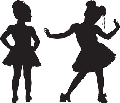 Happy silhouette small children