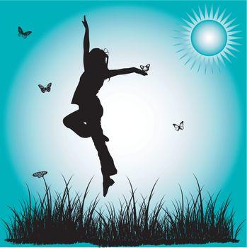 Silhouette leap child