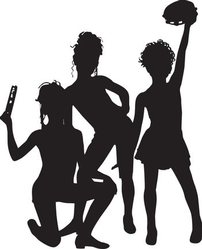 Musicians enjoy silhouette