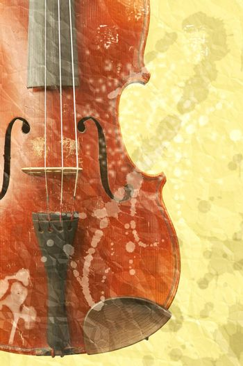 music background with old fiddle in grunge style