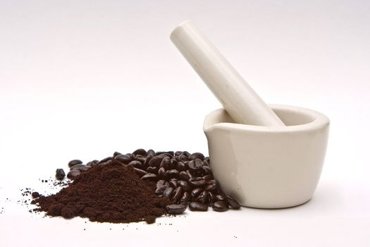 Mortar, coffee beans and grind