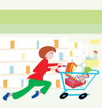 Woman running with a shopping cart filled with food in a grocery store