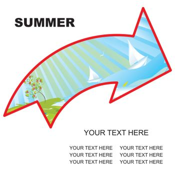 summer landscape arrow with copy space vector illustration - easy to change