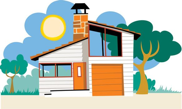 Holiday Villa, Gazebo, Residential District, Bungalow, Apartment, Summer, Sun, Vacations, Architecture, Hotel, Tourist Resort, Real Estate, Cottage, Residential Structure, House, Loan, Suburb, rent, Mansion, Vector, Illustration and Painting, Cartoon