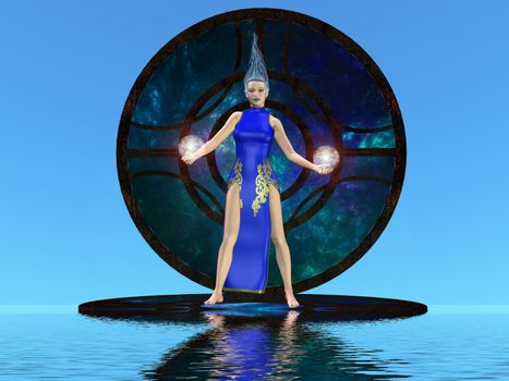 Fantasy image of a young woman holding two electrified balls.