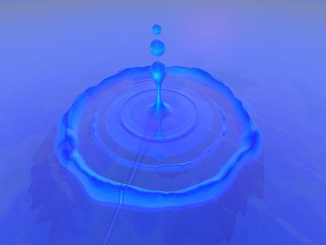 Ripples surround a drop of water which fell into a pool of beautiful blue liquid.