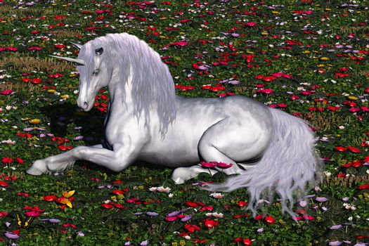 A beautiful stag unicorn lays down in a field of flowers and butterflies for a rest.