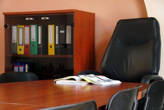 Catalog on desk in office